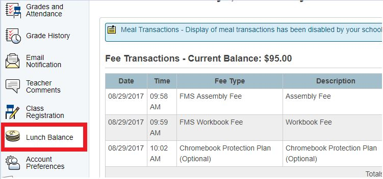 Parent Portal Fees